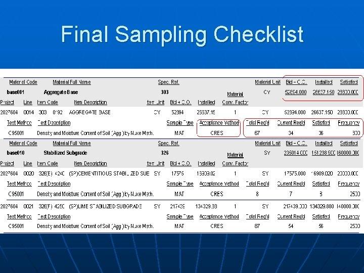 Final Sampling Checklist