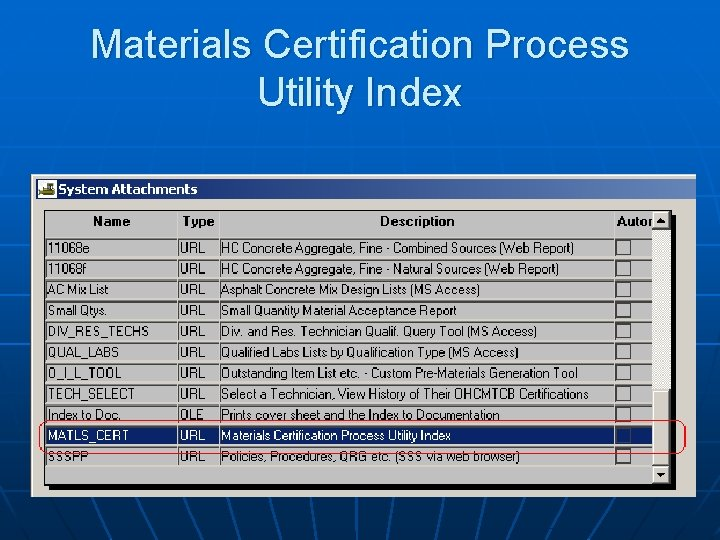Materials Certification Process Utility Index