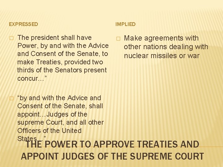 EXPRESSED � The president shall have Power, by and with the Advice and Consent
