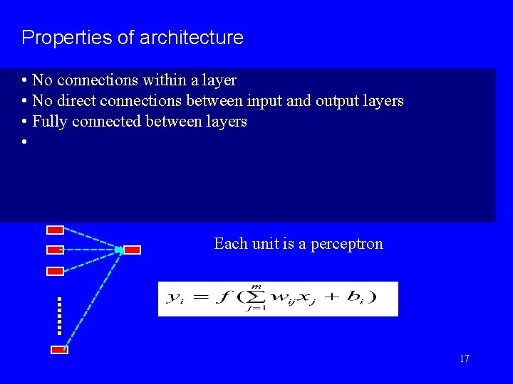 Properties of architecture • No connections within a layer • No direct connections between