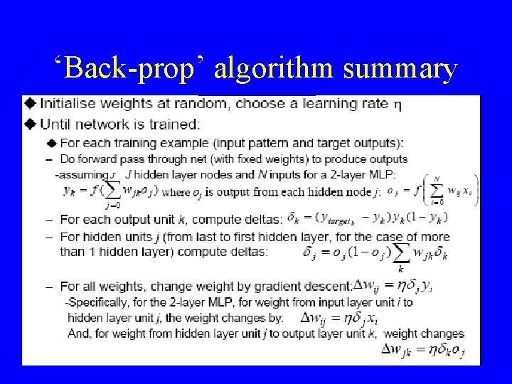'Back-prop' algorithm summary 24