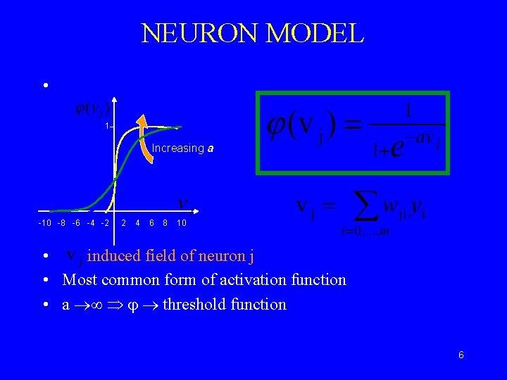 NEURON MODEL • Sigmoidal Function 1 Increasing a -10 -8 -6 -4 -2 2
