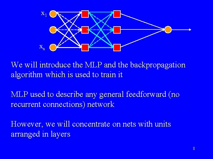 x 1 xn We will introduce the MLP and the backpropagation algorithm which is