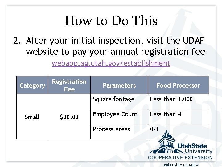 How to Do This 2. After your initial inspection, visit the UDAF website to