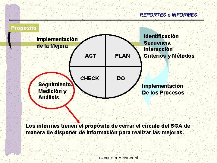 REPORTES e INFORMES Propósito Implementación de la Mejora ACT Seguimiento, Medición y Análisis PLAN
