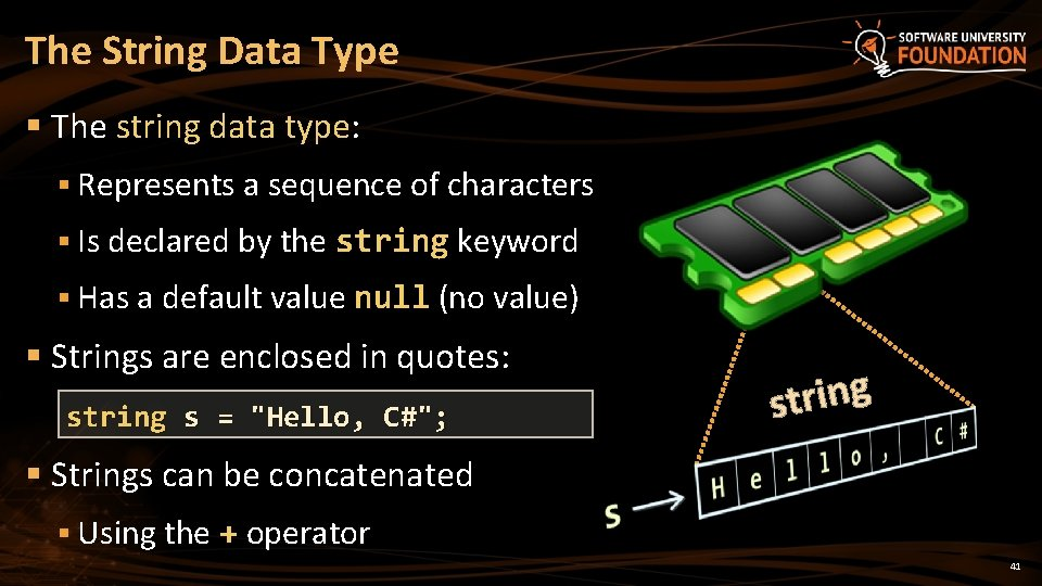The String Data Type § The string data type: § Represents a sequence of