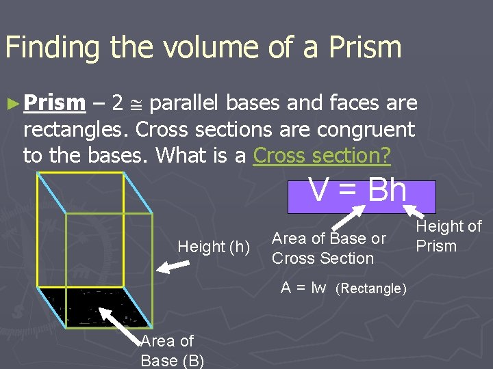 Finding the volume of a Prism – 2 parallel bases and faces are rectangles.