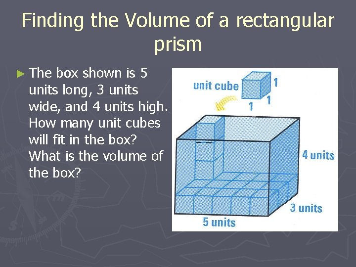 Finding the Volume of a rectangular prism ► The box shown is 5 units