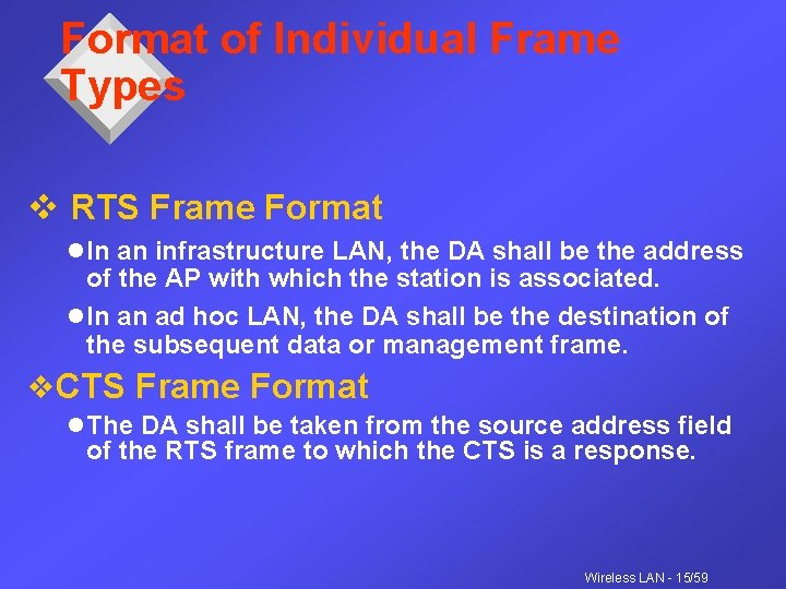 Format of Individual Frame Types v RTS Frame Format l In an infrastructure LAN,