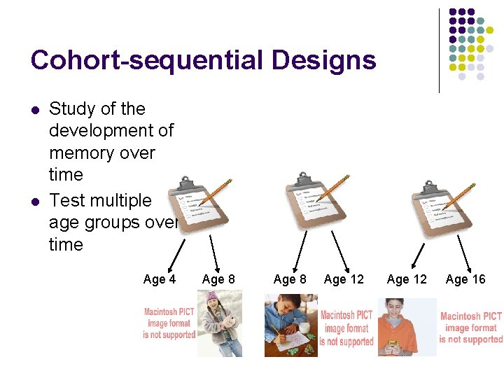 Cohort-sequential Designs l l Study of the development of memory over time Test multiple