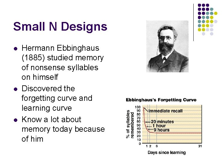 Small N Designs l l l Hermann Ebbinghaus (1885) studied memory of nonsense syllables