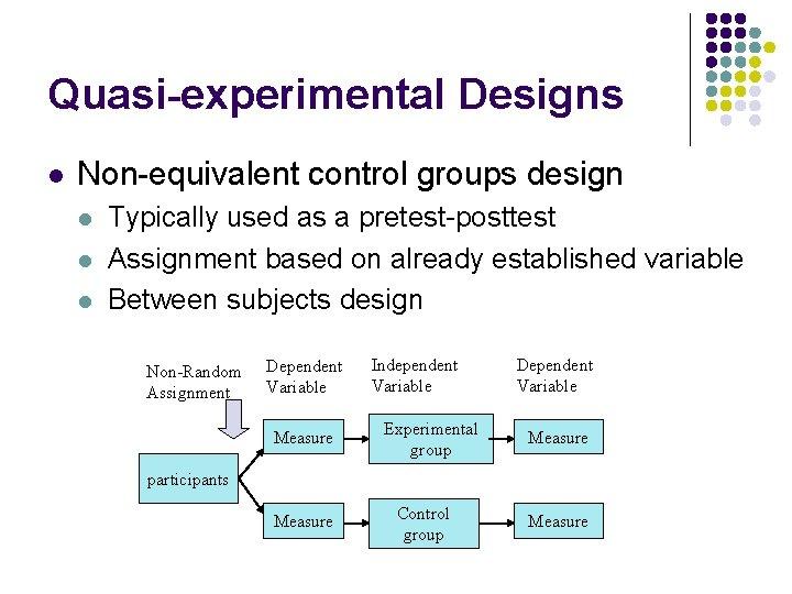 Quasi-experimental Designs l Non-equivalent control groups design l l l Typically used as a