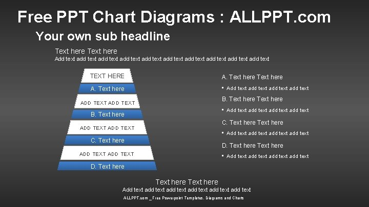 Free PPT Chart Diagrams : ALLPPT. com Your own sub headline Text here Add
