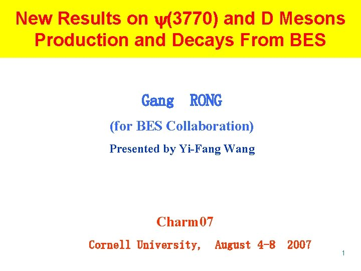 New Results on (3770) and D Mesons Production and Decays From BES Gang RONG