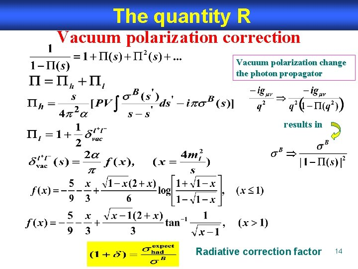 The quantity R Vacuum polarization correction Vacuum polarization change the photon propagator results in