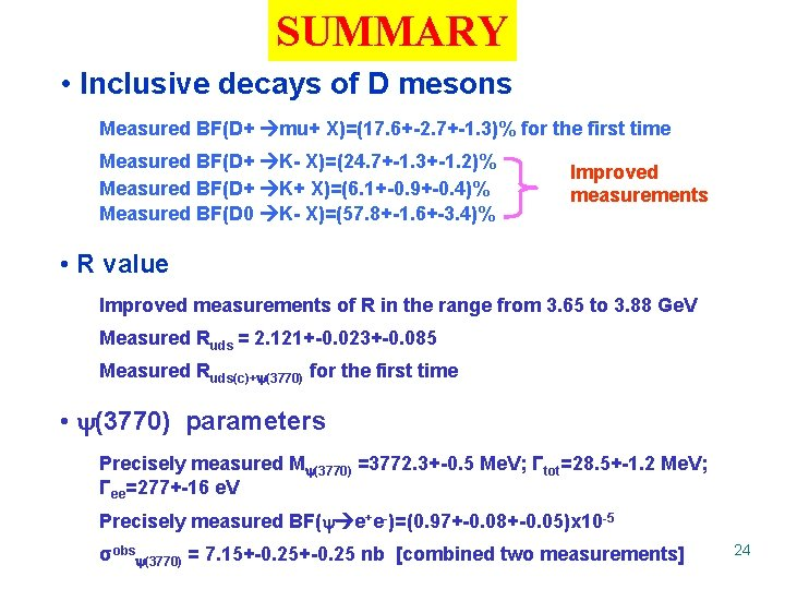 SUMMARY • Inclusive decays of D mesons Measured BF(D+ mu+ X)=(17. 6+-2. 7+-1. 3)%