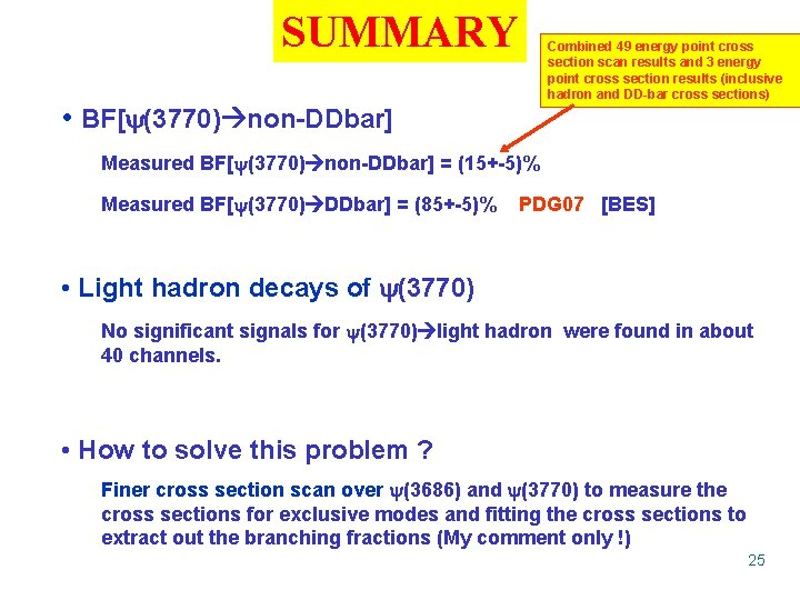 SUMMARY Combined 49 energy point cross section scan results and 3 energy point cross