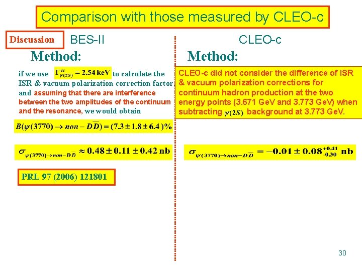 Comparison with those measured by CLEO-c Discussion BES-II Method: CLEO-c did not consider the