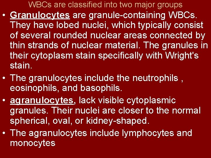 WBCs are classified into two major groups • Granulocytes are granule containing WBCs. They