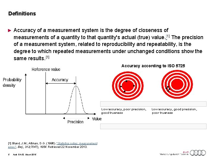 Definitions ► Accuracy of a measurement system is the degree of closeness of measurements