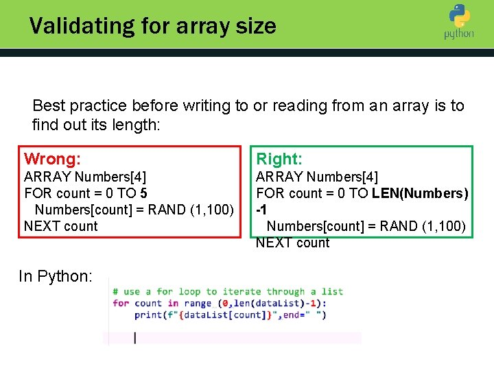 Validating for array size Introduction to Python Best practice before writing to or reading