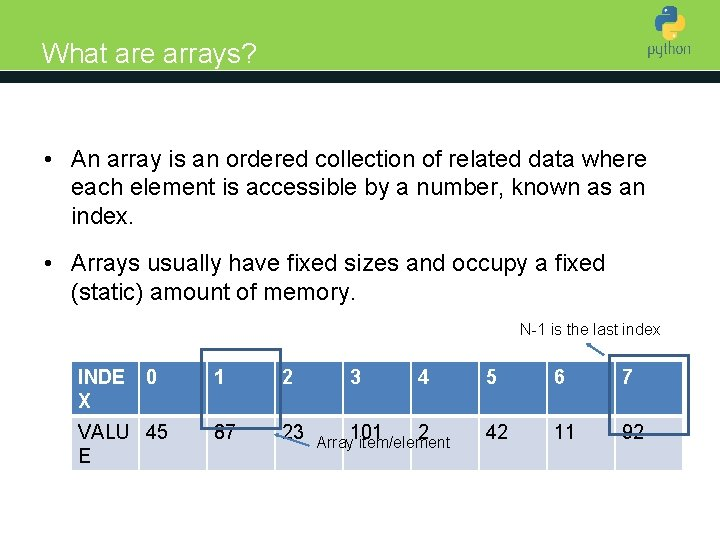 What are arrays? Introduction to Python • An array is an ordered collection of