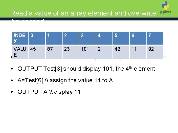 Read a value of an array element and overwrite it if needed INDE X