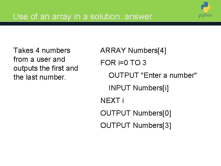 Use of an array in a solution: answer Takes 4 numbers from a user