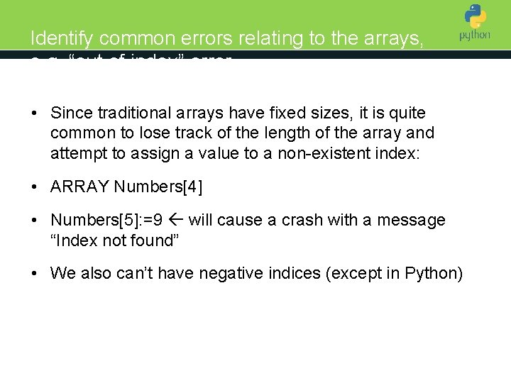 """Identify common errors relating to the arrays, e. g. """"out of index"""" error Introduction"""