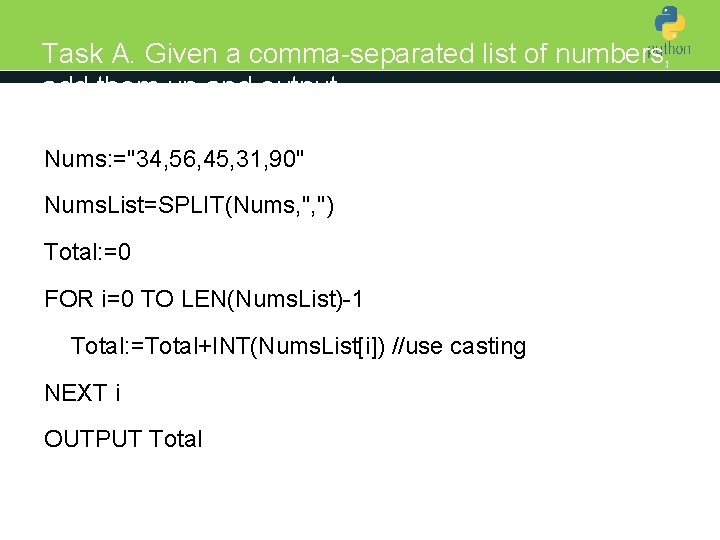 Task A. Given a comma-separated list of numbers, add them up and output Introduction