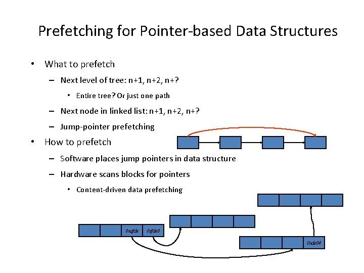 Prefetching for Pointer-based Data Structures • What to prefetch – Next level of tree: