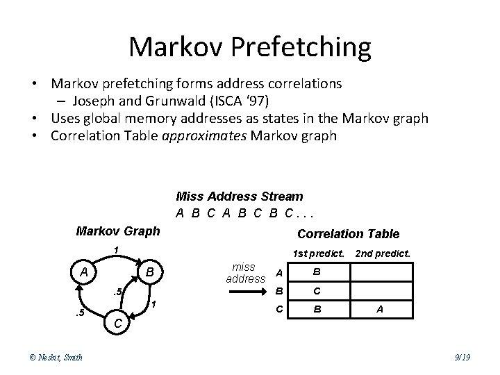 Markov Prefetching • Markov prefetching forms address correlations – Joseph and Grunwald (ISCA '