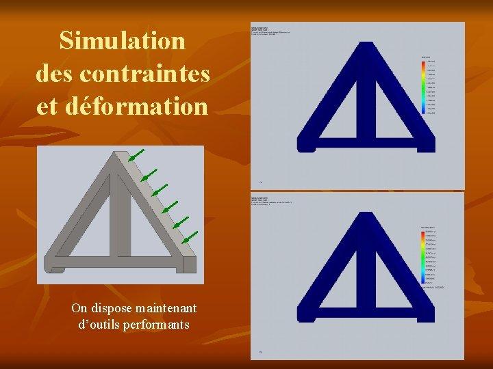 Simulation des contraintes et déformation On dispose maintenant d'outils performants