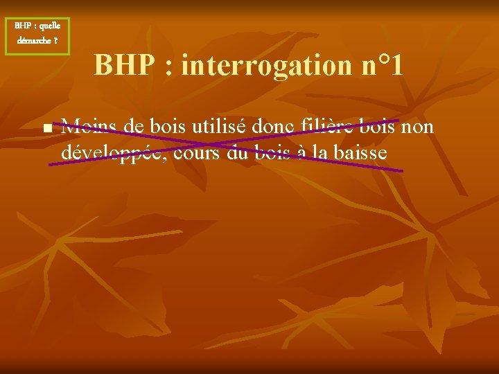 BHP : quelle démarche ? n BHP : interrogation n° 1 Moins de bois