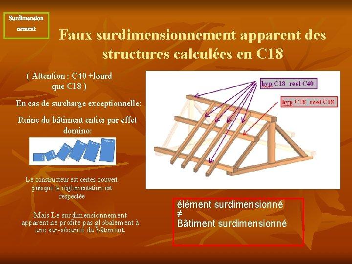 Surdimension nement Faux surdimensionnement apparent des structures calculées en C 18 ( Attention :