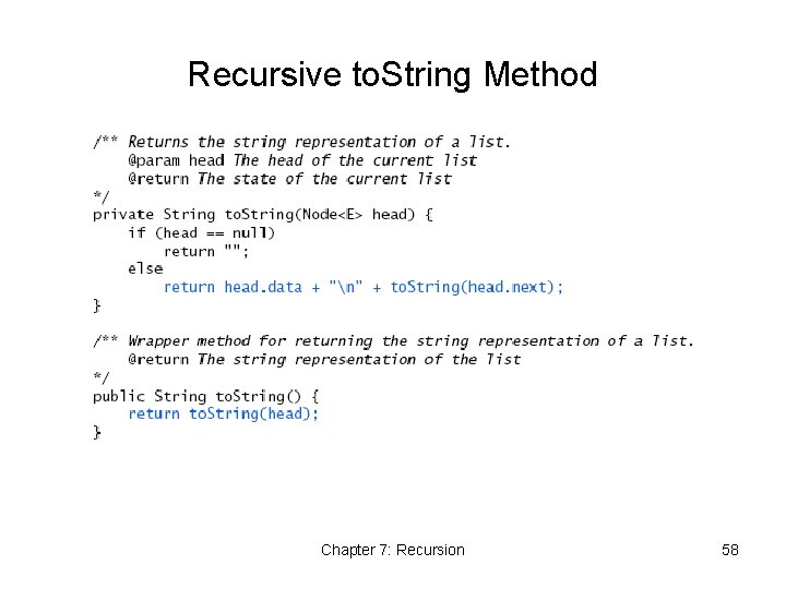 Recursive to. String Method Chapter 7: Recursion 58