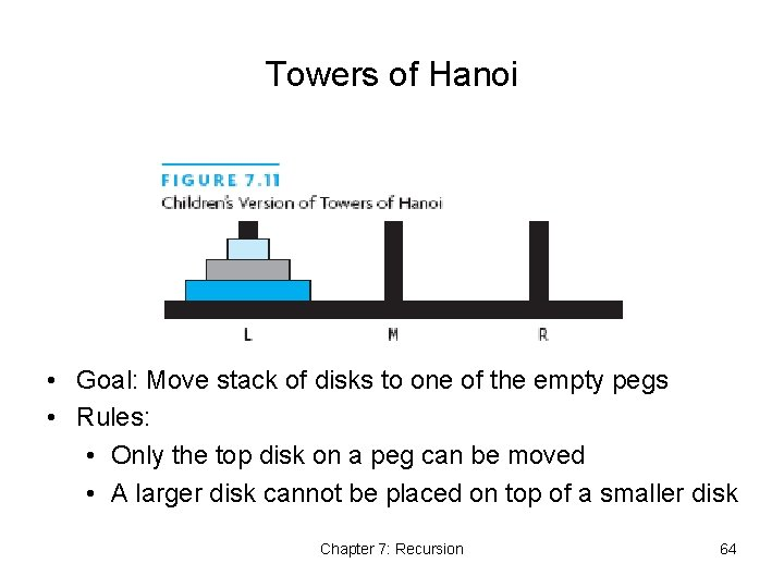Towers of Hanoi • Goal: Move stack of disks to one of the empty