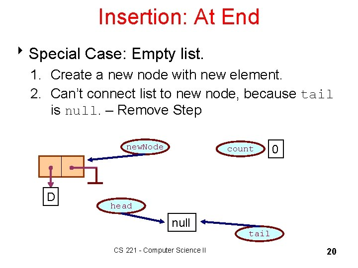 Insertion: At End 8 Special Case: Empty list. 1. Create a new node with