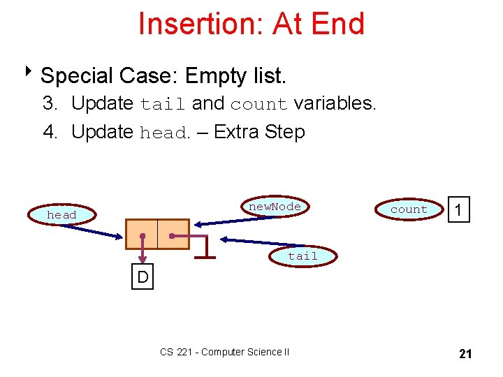 Insertion: At End 8 Special Case: Empty list. 3. Update tail and count variables.