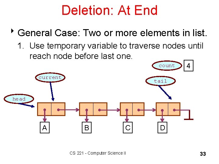 Deletion: At End 8 General Case: Two or more elements in list. 1. Use