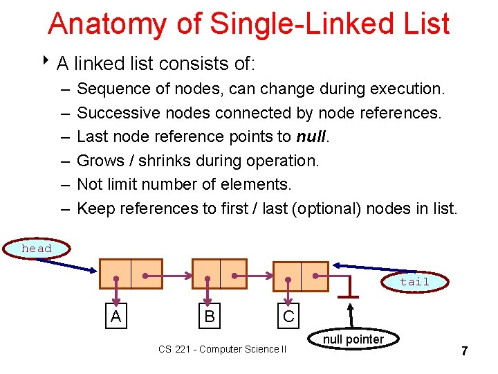 Anatomy of Single-Linked List 8 A linked list consists of: – – – Sequence