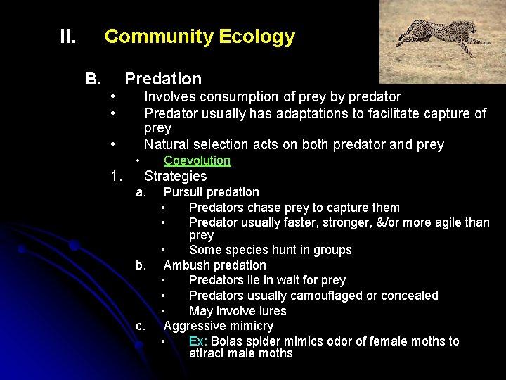 II. Community Ecology B. Predation • • Involves consumption of prey by predator Predator