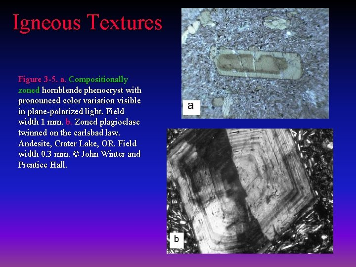 Igneous Textures Figure 3 -5. a. Compositionally zoned hornblende phenocryst with pronounced color variation