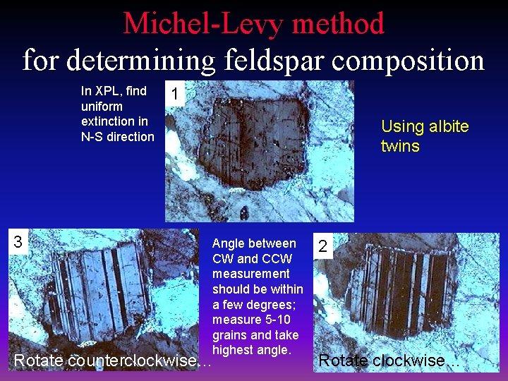 Michel-Levy method for determining feldspar composition In XPL, find uniform extinction in N-S direction