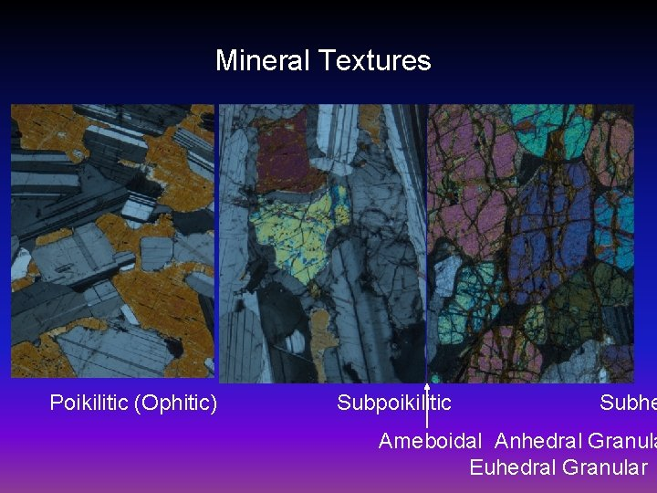 Mineral Textures Poikilitic (Ophitic) Subpoikilitic Subhe Ameboidal Anhedral Granula Euhedral Granular