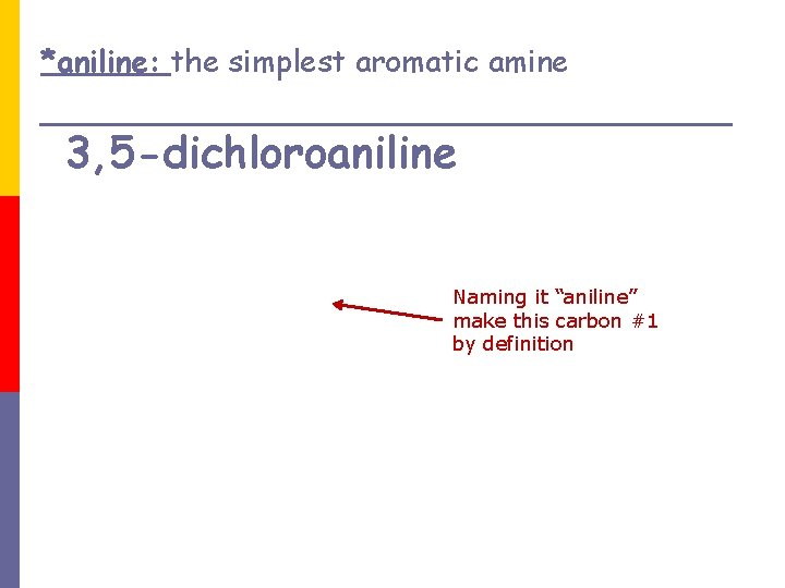 """*aniline: the simplest aromatic amine 3, 5 -dichloroaniline Naming it """"aniline"""" make this carbon"""