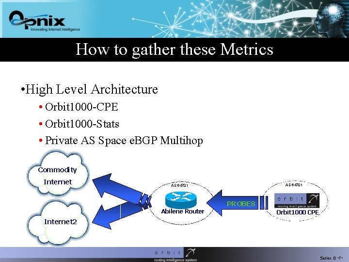 How to gather these Metrics • High Level Architecture • Orbit 1000 -CPE •