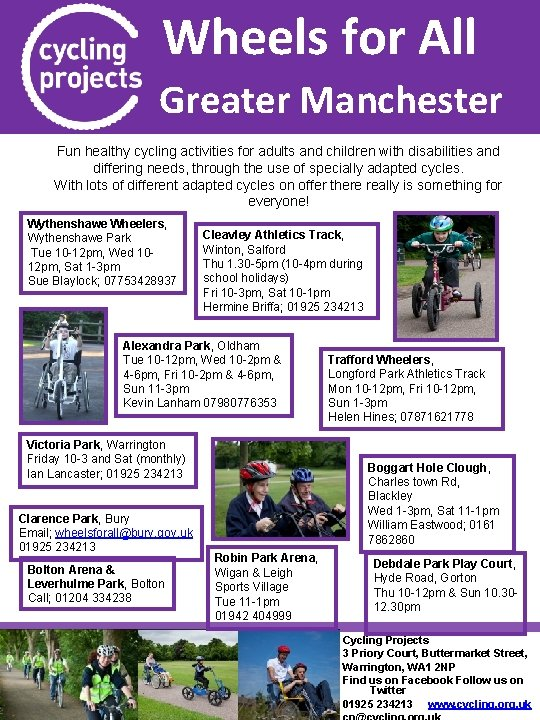 Wheels for All Greater Manchester Fun healthy cycling activities for adults and children with