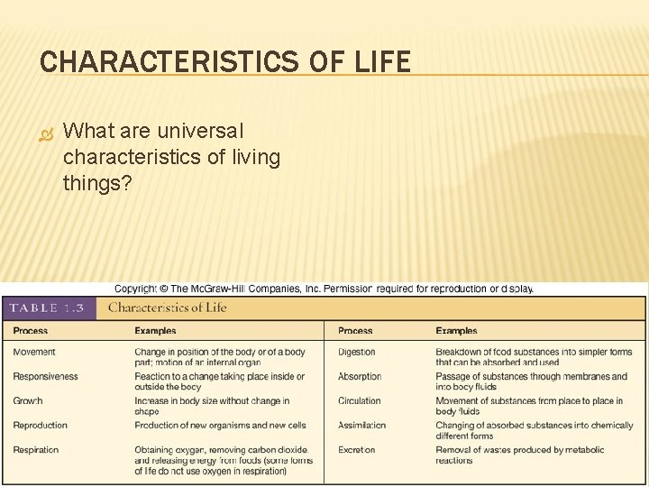CHARACTERISTICS OF LIFE What are universal characteristics of living things?