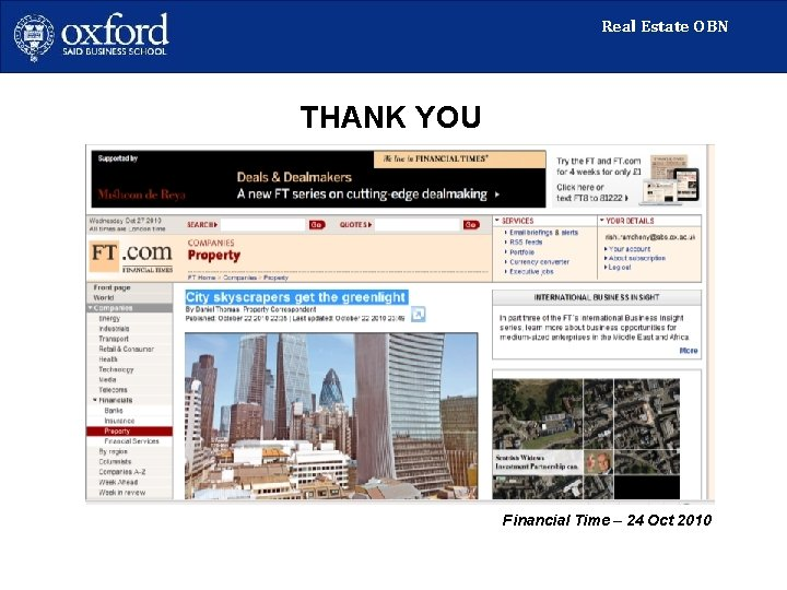 Real Estate OBN THANK YOU Financial Time – 24 Oct 2010